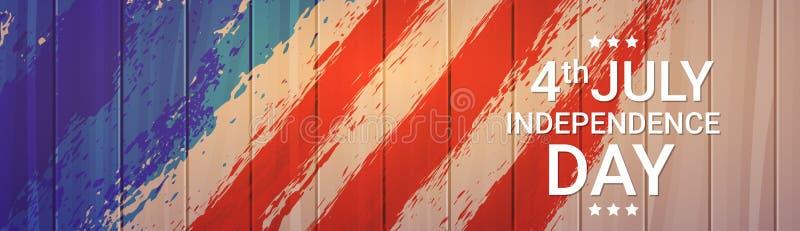 美国旗子木纹理美国独立日假日7月4日横幅 向量例证