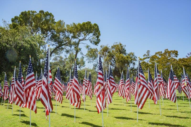 美国旗子海  免版税库存图片