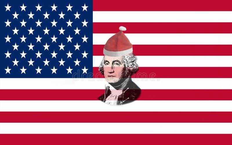 美国旗子特写镜头与画象乔治・华盛顿的在圣诞老人项目红色圣诞节帽子 免版税库存照片