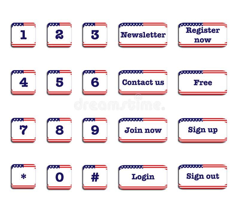 美国旗子网按钮 向量例证