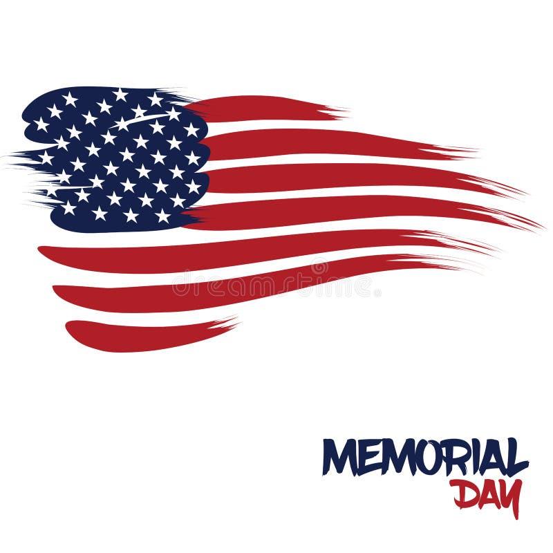 美国旗子设计了与刷子冲程为阵亡将士纪念日 向量例证