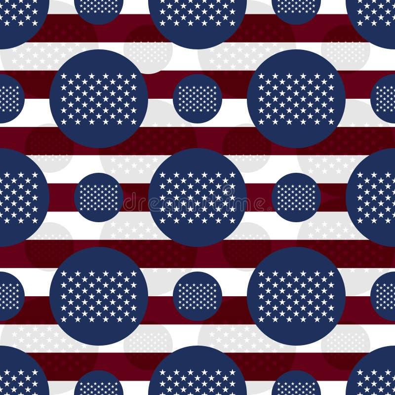 美国旗子50星旗子无缝的样式 库存例证