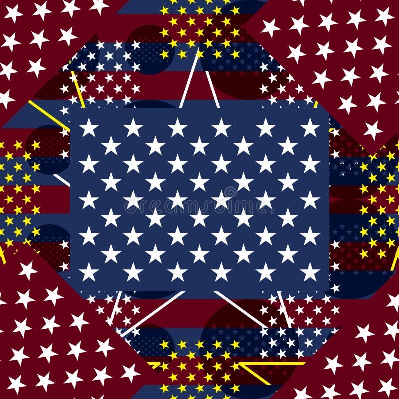 美国旗子50星织品无缝的样式 向量例证