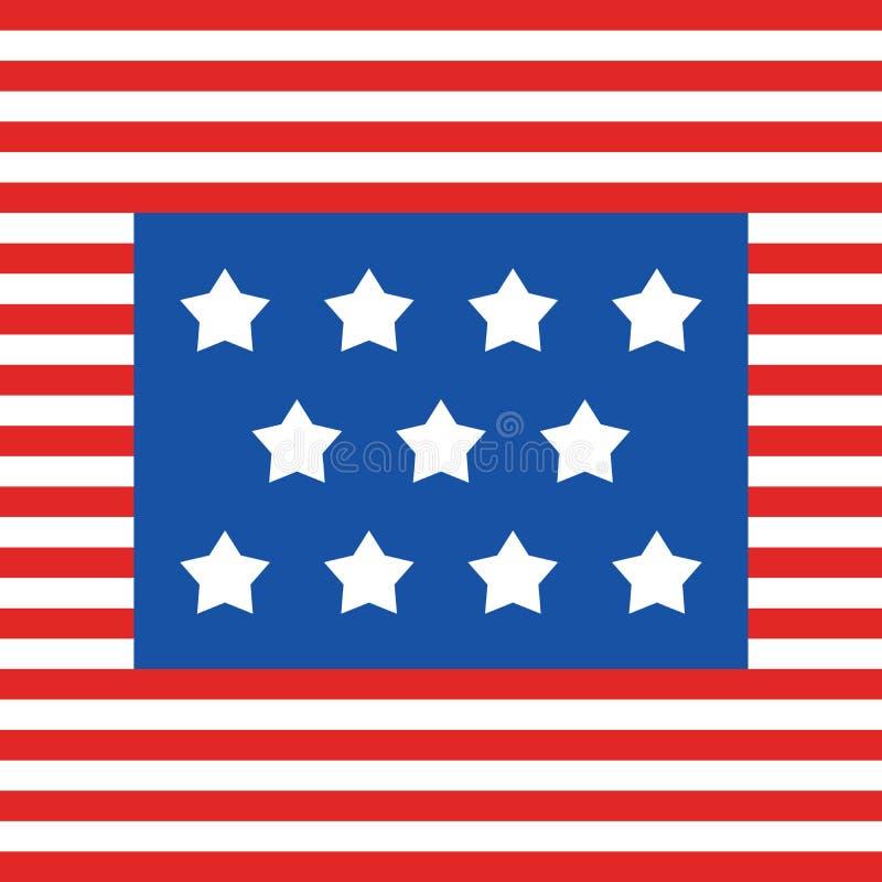 美国旗条和11颗星,7月4日美国独立爱国纪念退伍军人劳动军联合日 向量例证