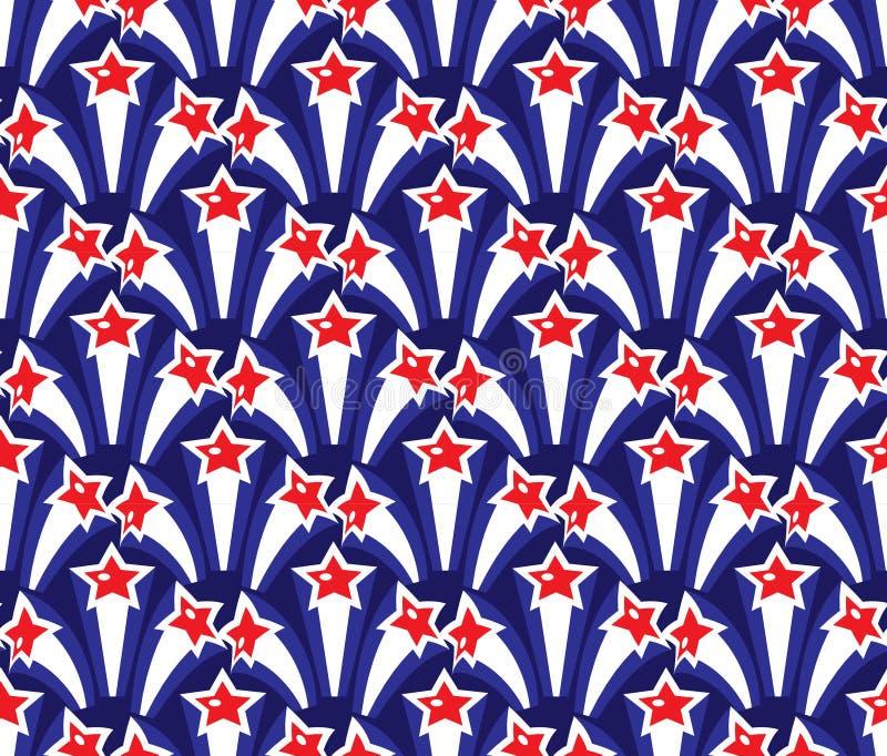 美国无缝的样式美国独立日  7月4日不尽的背景 重复纹理与的美国国庆节 库存例证
