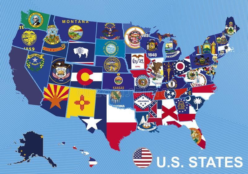 美国映射与状态旗子,在与阿拉斯加和夏威夷的蓝色背景 皇族释放例证