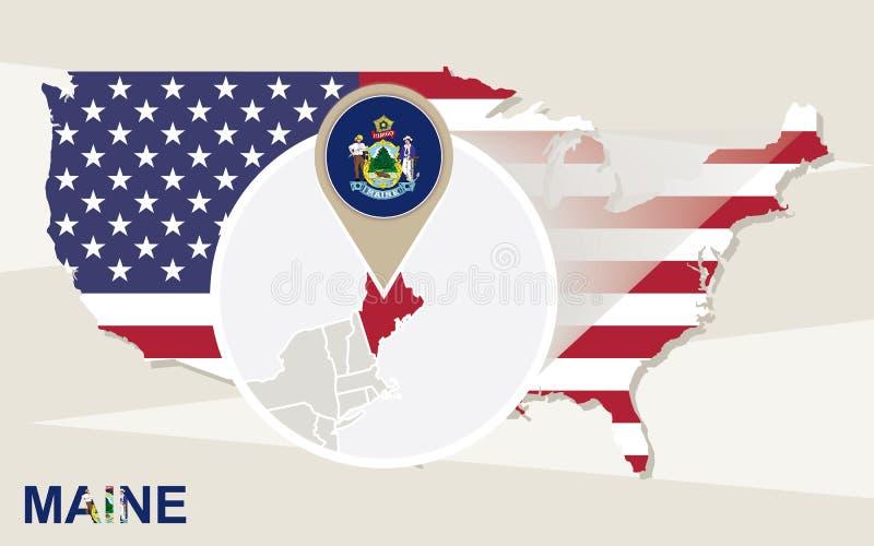 美国映射以被扩大化的缅因州 缅因旗子和地图 库存例证