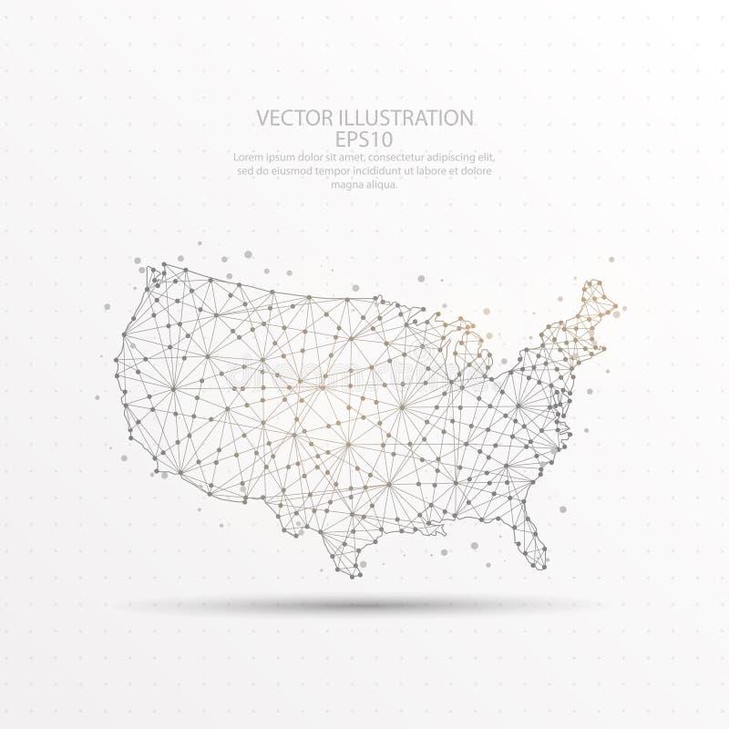 美国映射在白色背景的低多导线框架 库存例证