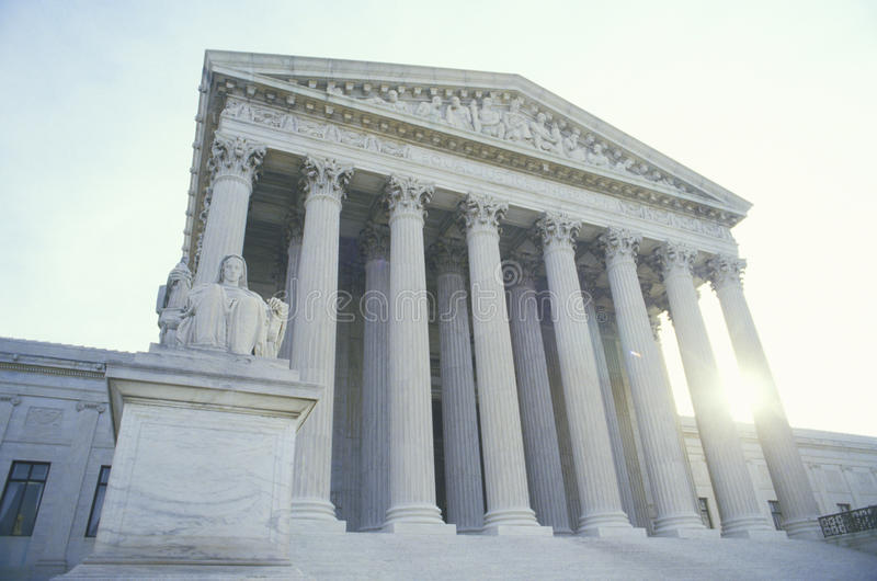 美国最高法院大厦,华盛顿, D C 库存图片
