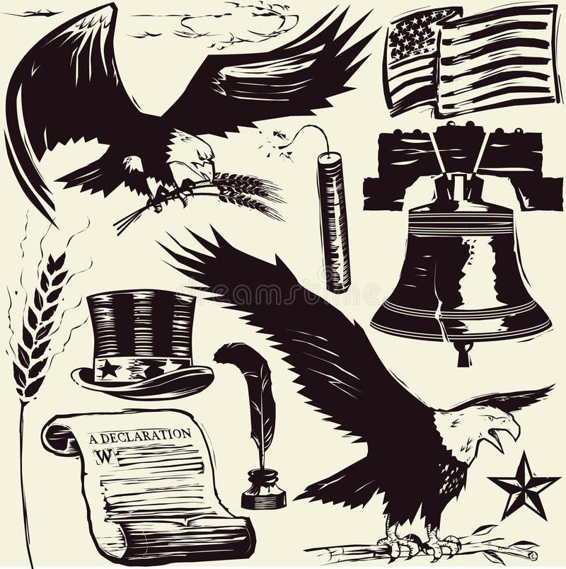美国木刻 皇族释放例证