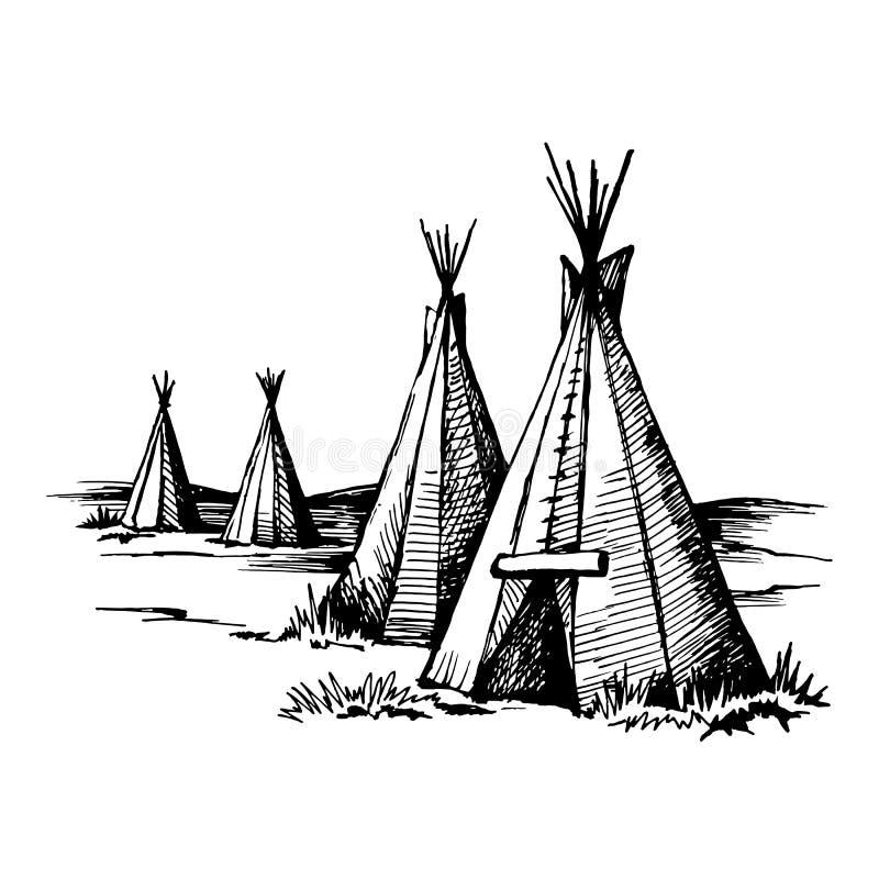 美国本地人圆锥形小屋 向量例证