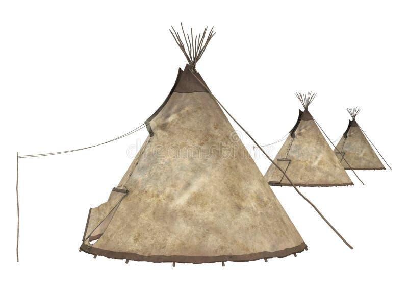美国本地人圆锥形帐蓬 库存例证