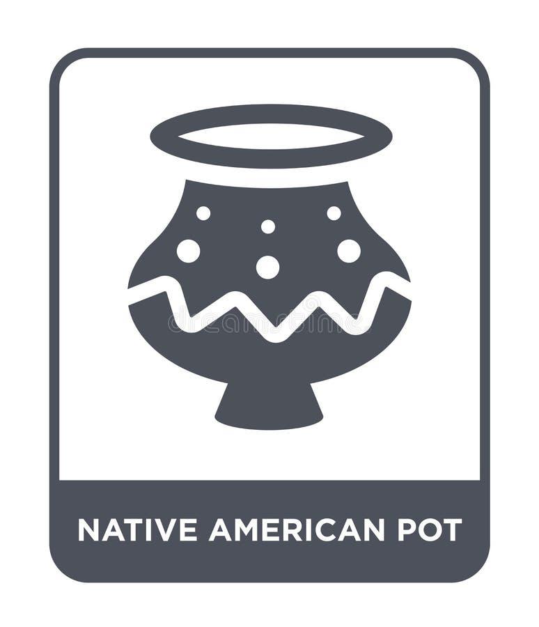 美国本地人在时髦设计样式的罐象 美国本地人在白色背景隔绝的罐象 美国本地人罐传染媒介 库存例证