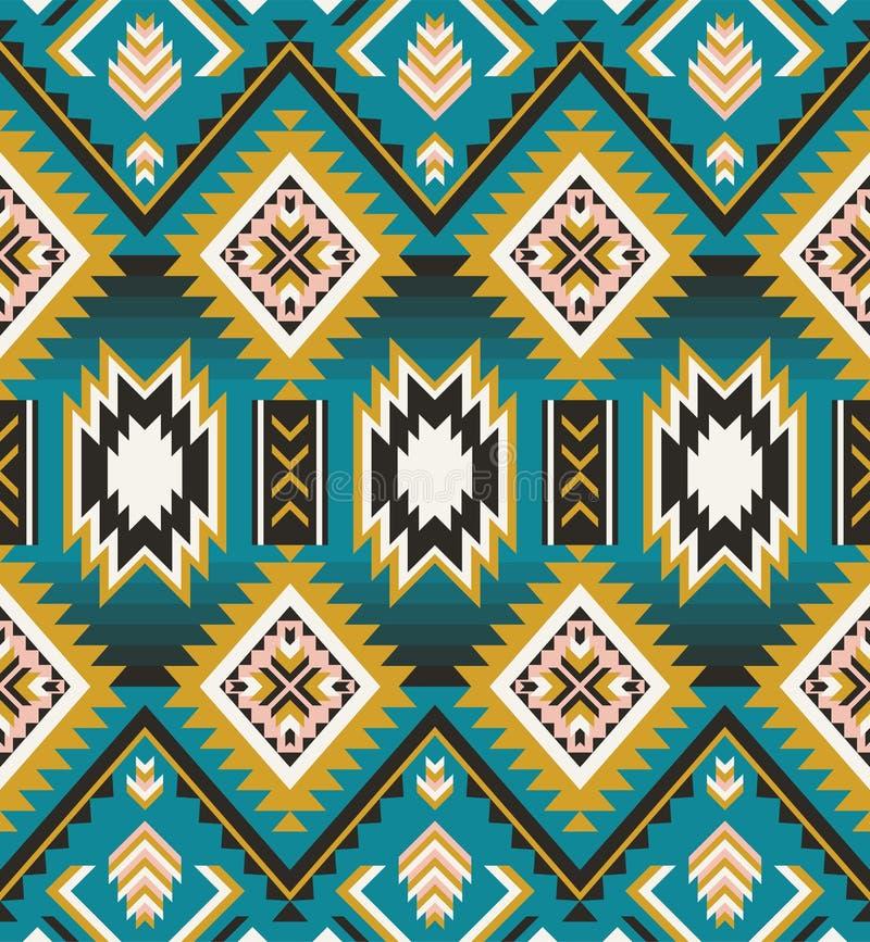 美国本地人,印地安人,阿兹台克人,几何无缝的样式 皇族释放例证