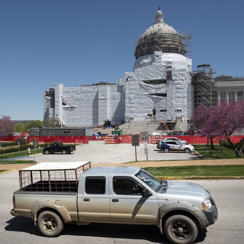 美国杰斐逊城2020年4月21日:密苏里州首府抗议重新开放州 库存照片