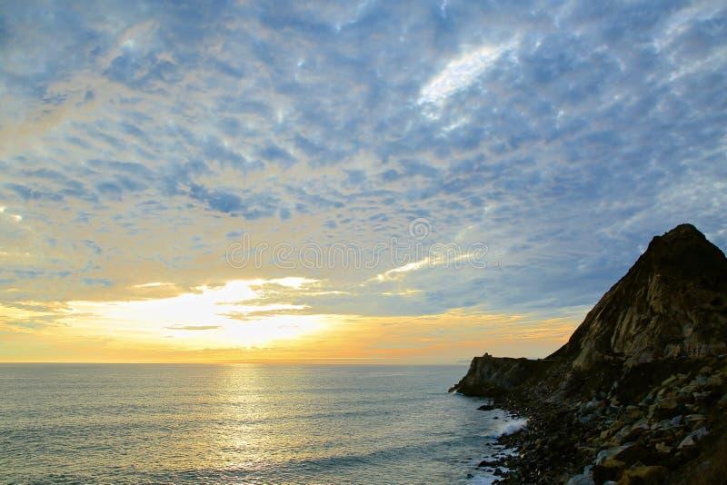 美国梧桐小海湾加利福尼亚日落 免版税库存照片