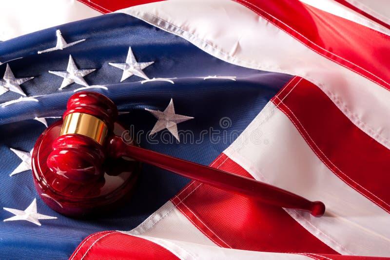 美国概念标志惊堂木法制系统 免版税库存照片