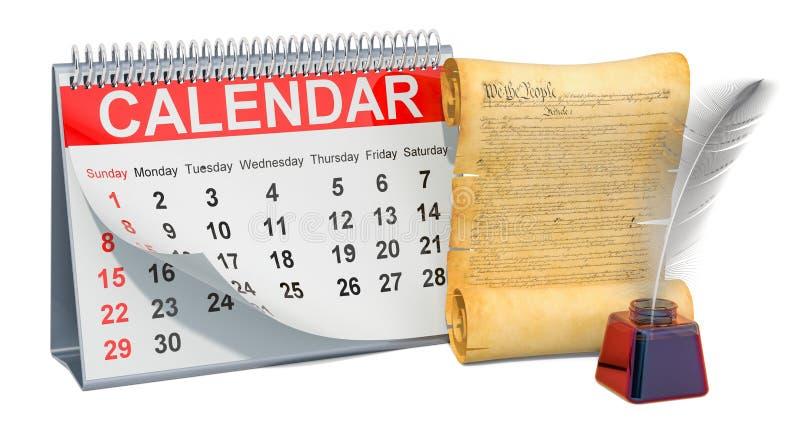 美国概念的宪法与桌面日历,3D的翻译 库存例证