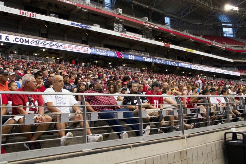 美国橄榄球联盟亚利桑那红雀橄榄球队训练营爱好者 免版税图库摄影