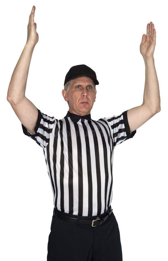 美国橄榄球联盟橄榄球裁判员触地得分被隔绝的手势 免版税库存图片