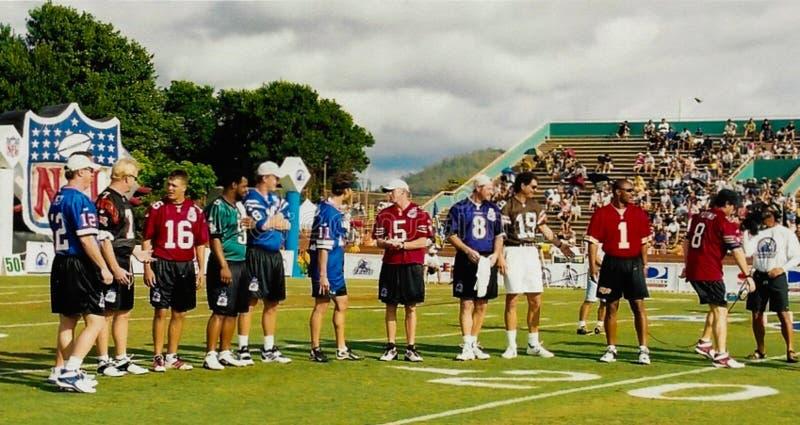 美国橄榄球联盟QB星和传奇 免版税库存照片