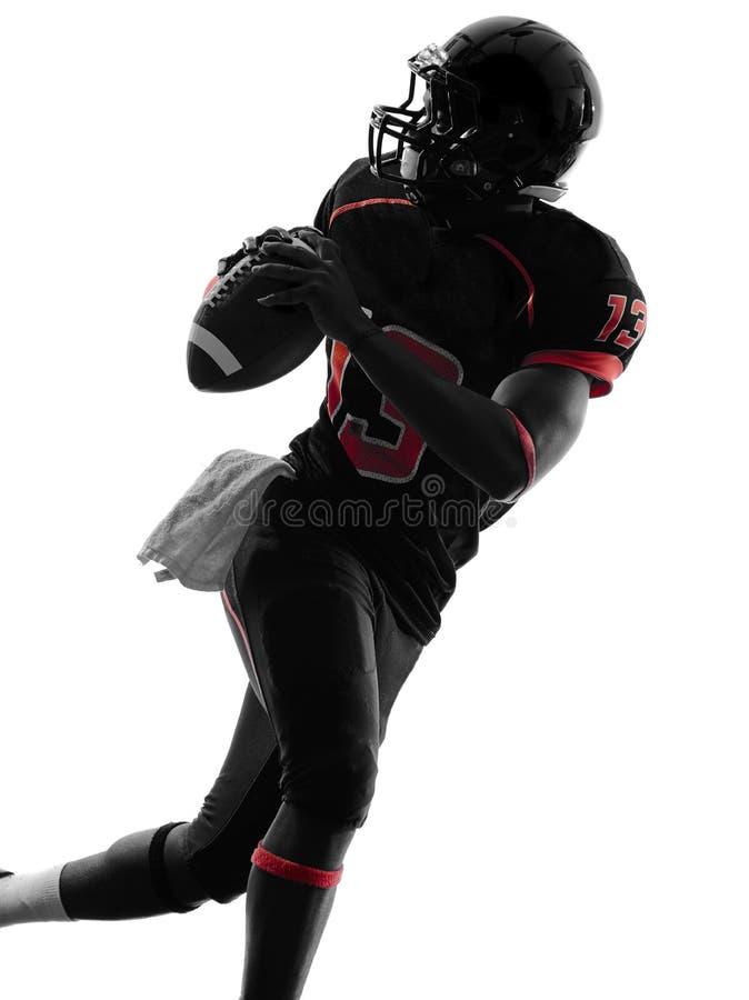 美国橄榄球运动员四分卫画象剪影 免版税图库摄影