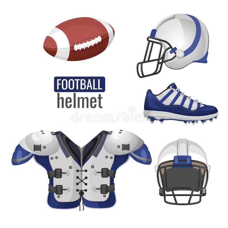 美国橄榄球运动员成套装备sportsuit传染媒介情报海报 向量例证