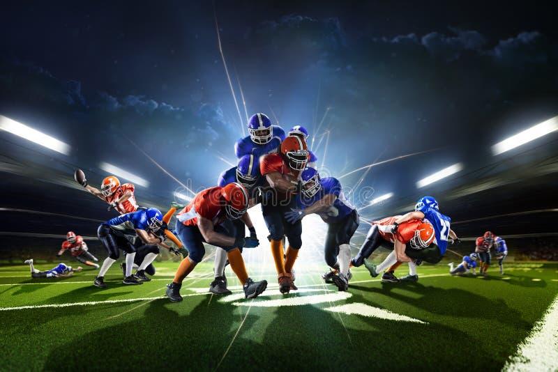 从美国橄榄球运动员的拼贴画在行动盛大竞技场 免版税库存图片