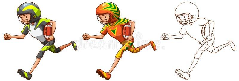 美国橄榄球运动员赛跑的起草的字符 皇族释放例证