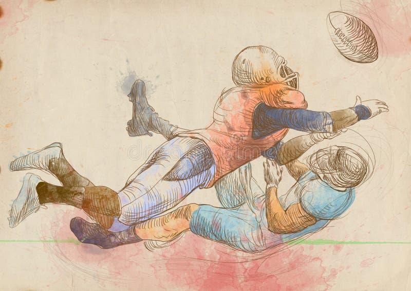 美国橄榄球运动员,二个人1 向量例证