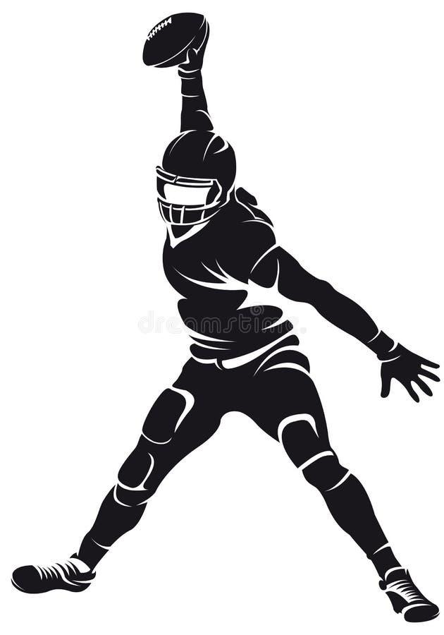 美国橄榄球运动员,剪影 库存例证