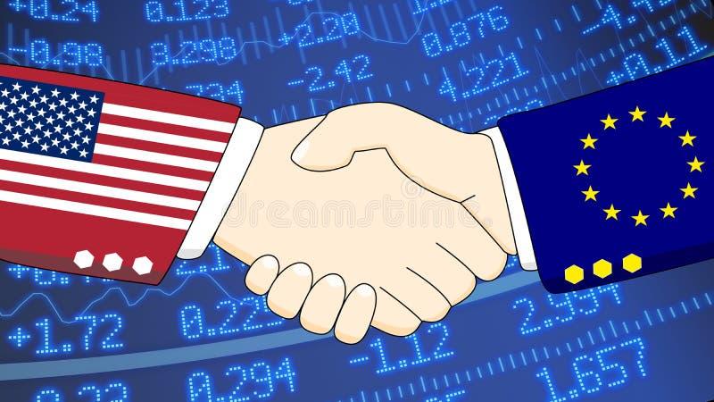 美国欧盟财政握手股票墙壁 皇族释放例证