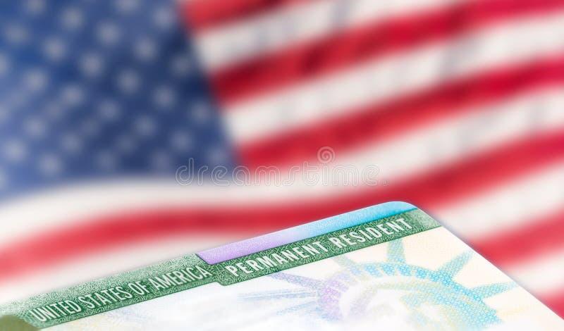 美国永久居民卡片,移民概念 免版税图库摄影