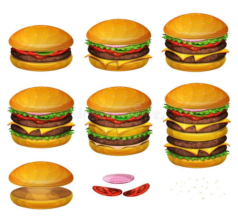 美国汉堡所有大小 向量例证