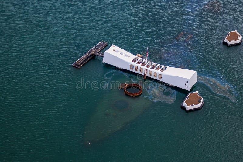 美国海军亚利桑那号战列舰纪念馆在珍珠港檀香山夏威夷 免版税库存图片