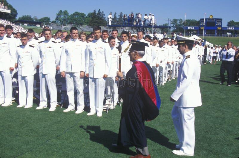 美国海军学校毕业 免版税库存图片