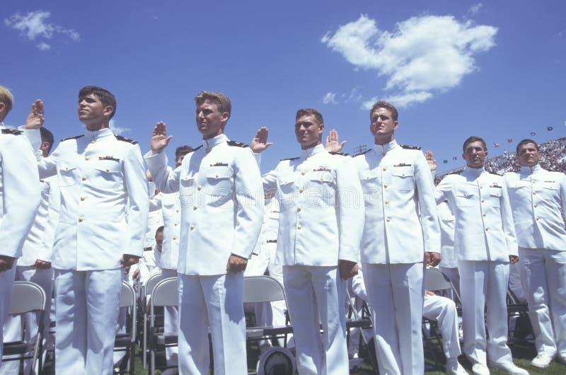 美国海军学校毕业 库存图片