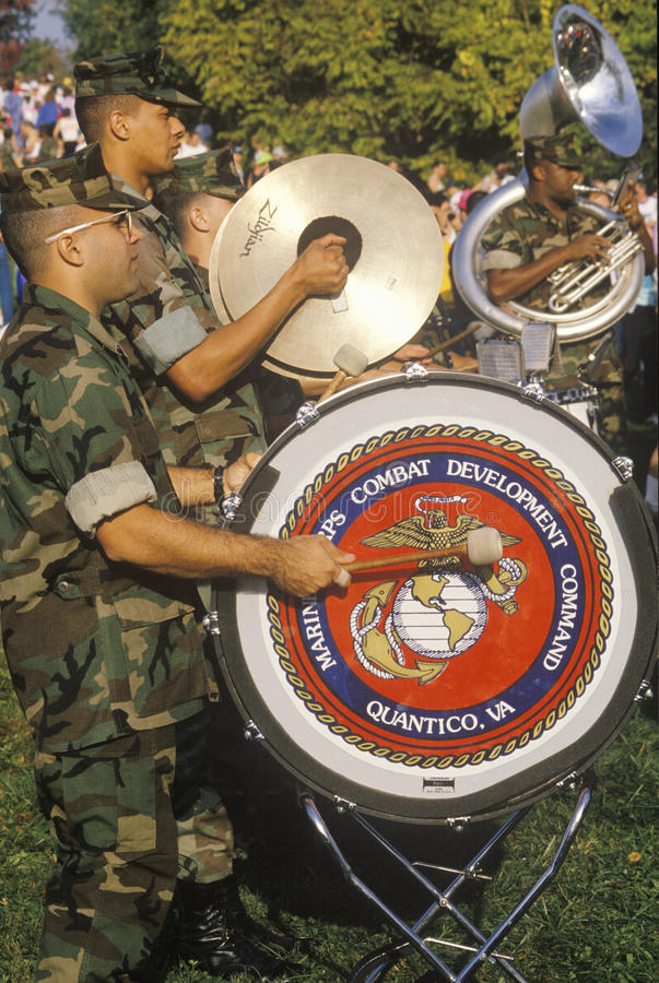 美国海军陆战队员游行乐队 库存图片