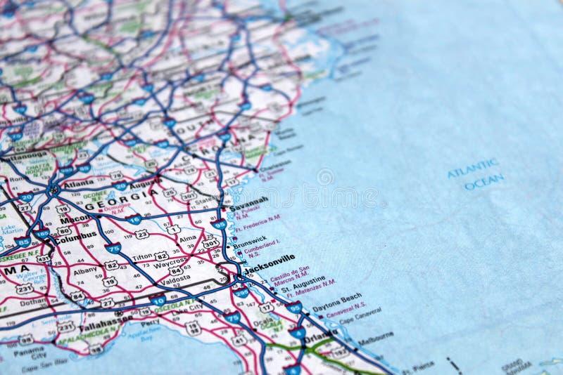 美国海岸东部映射 库存图片