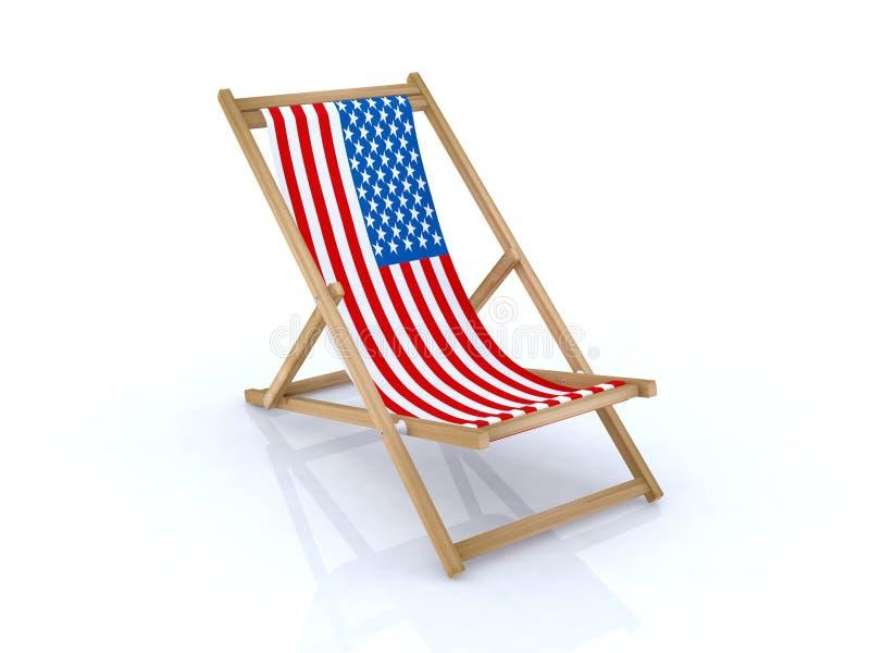 美国海滩睡椅标志木头 皇族释放例证
