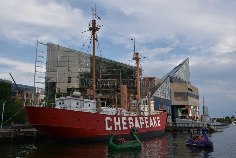 美国灯塔船切塞皮克犬LV-116在巴尔的摩,马里兰 免版税库存照片