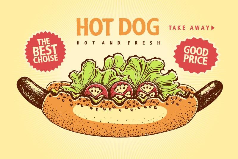 美国热狗三明治用芥末、蕃茄和沙拉 海报模板传染媒介例证 向量例证
