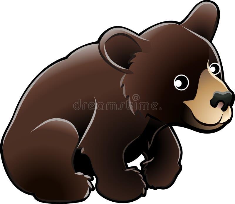 美国熊黑色逗人喜爱的vecto 向量例证