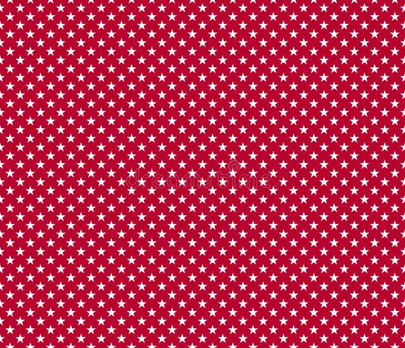 美国爱国无缝的在红色backgroun的样式白色星 库存例证