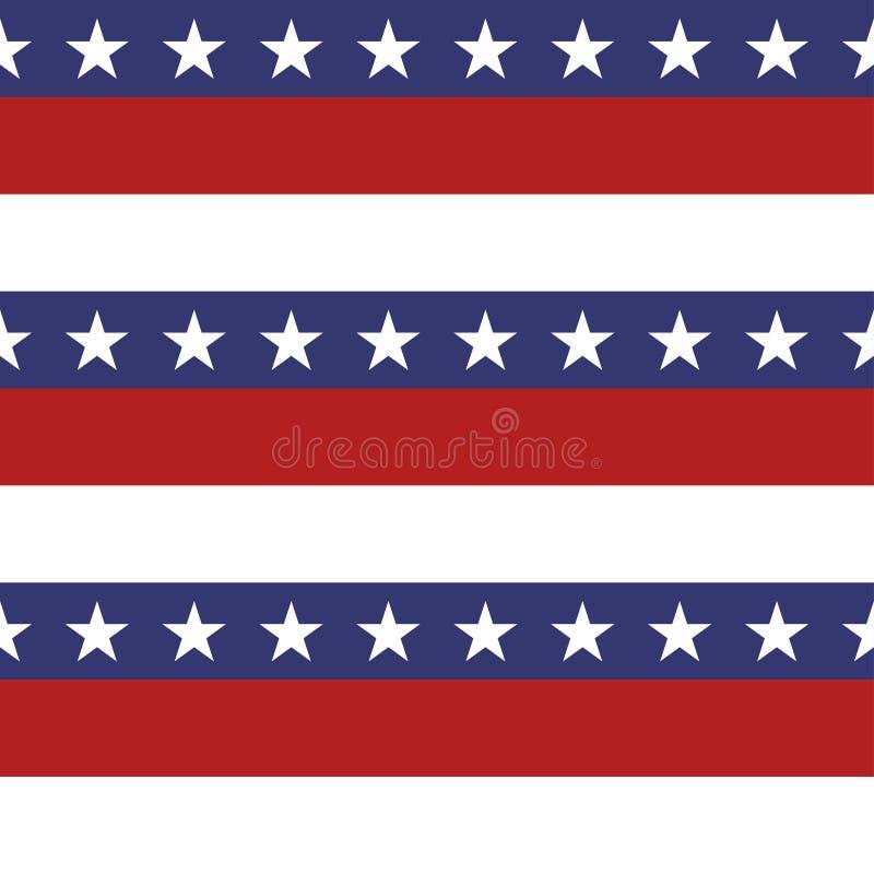 美国爱国星条旗无缝的样式在明亮的红色、蓝色和白色 库存例证