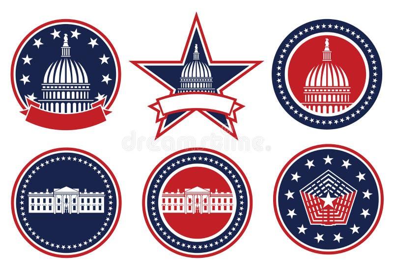 美国爱国红、白、蓝、首都、白宫和五角大楼标志孤立矢量图图 免版税库存照片