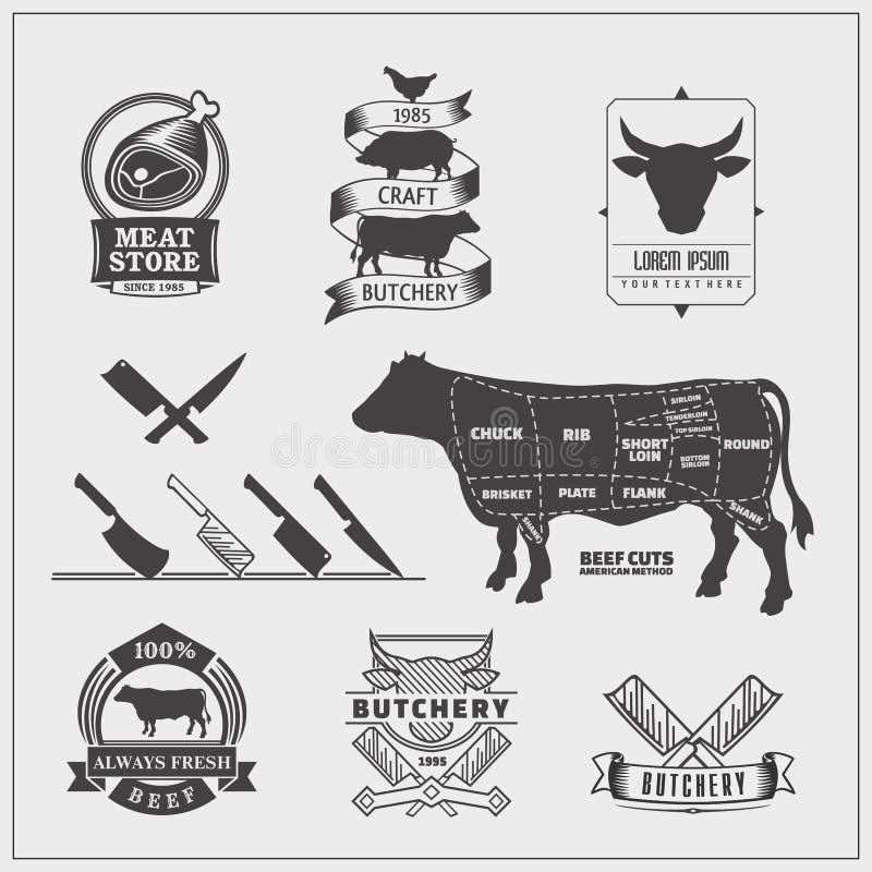 美国牛肉块 套牛肉商标、标签、刀子和设计元素 皇族释放例证