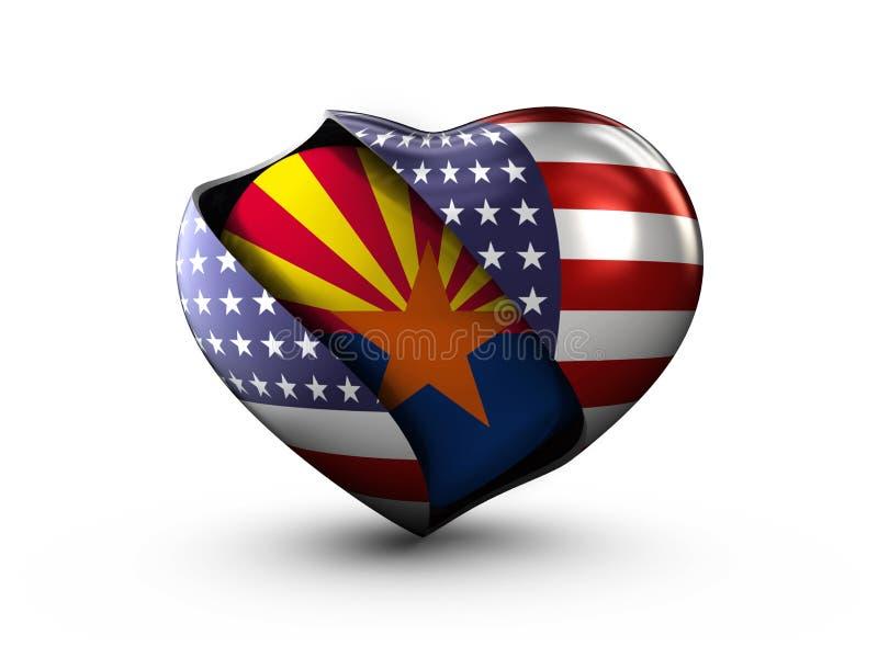 美国状态在白色背景的亚利桑那旗子 皇族释放例证