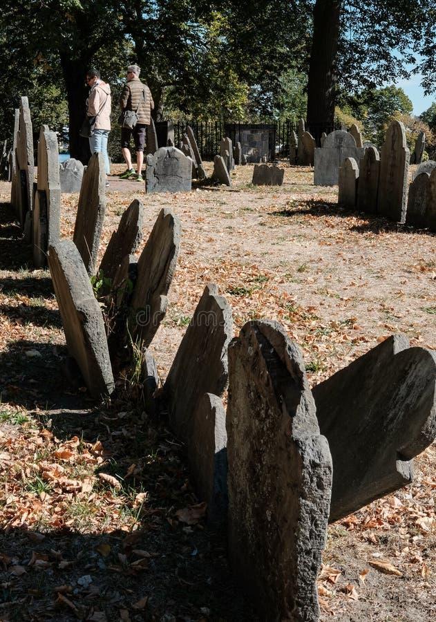 美国独立战争的图象在一座著名波士顿公墓看见的坟墓 免版税库存照片
