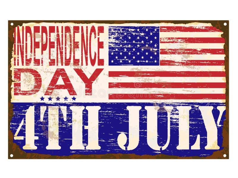美国独立日搪瓷标志 库存例证